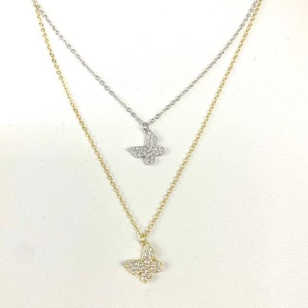 Floating Pave Butterfly Necklace