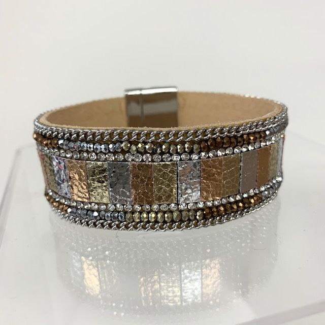 Metallic Multi Color Leather with CZ And Beads Bracelet