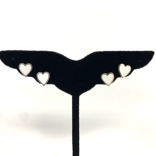 Mini Enamel Heart Post Earrings