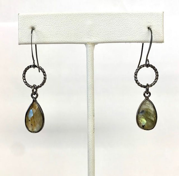 Natural Stone Etched Circle Earrings