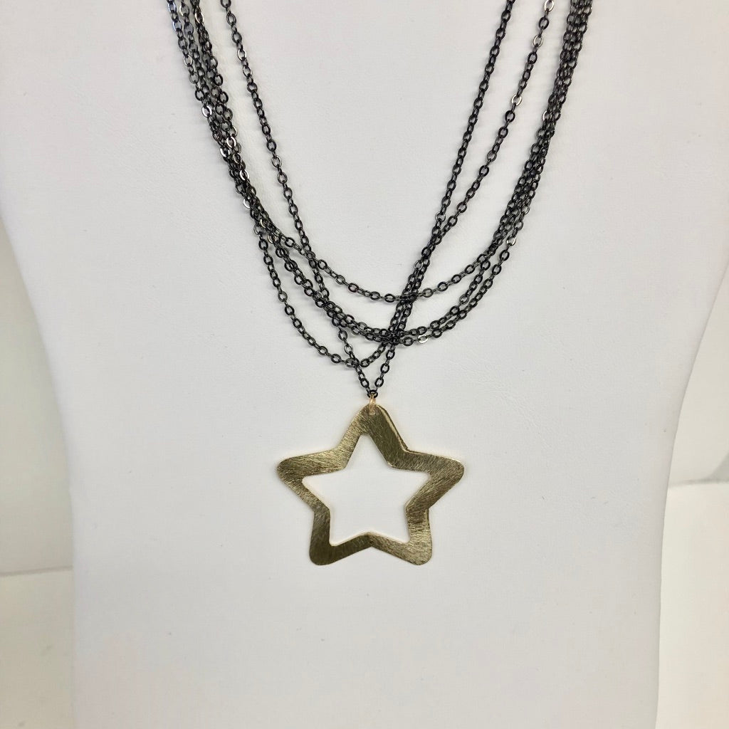 Short Layered Black Chain Necklace with Gold Matte Large Star