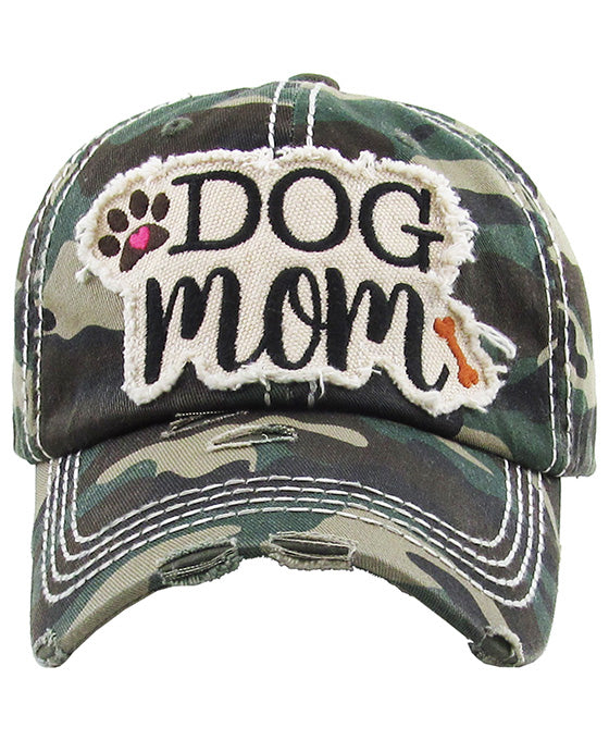 DOG MOM Washed Vintage Ball Cap
