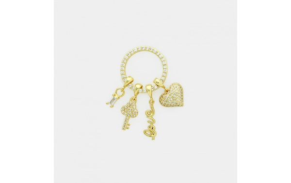 Cubic Zirconia Gold Ring with Love, Heart, Key & Stone Charms