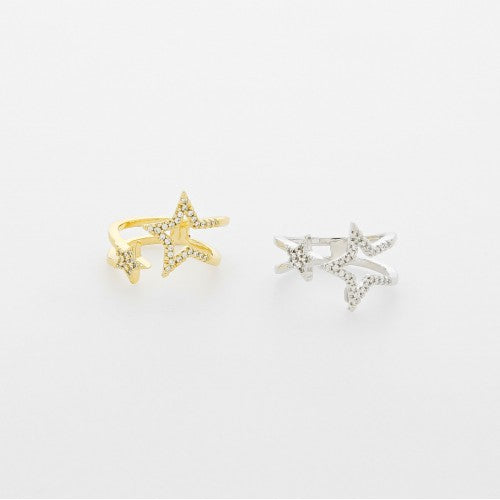 Double Band with CZ Star Cutout Ring