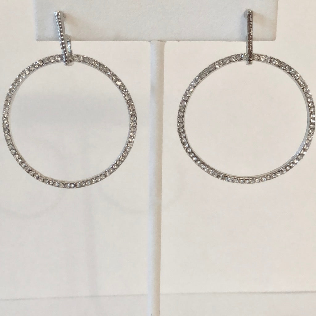 Circular Crystal Hanging Earrings