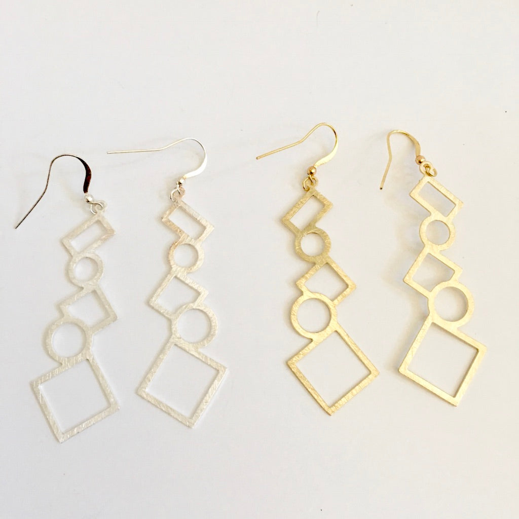Abstract Shape Hanging Earrings