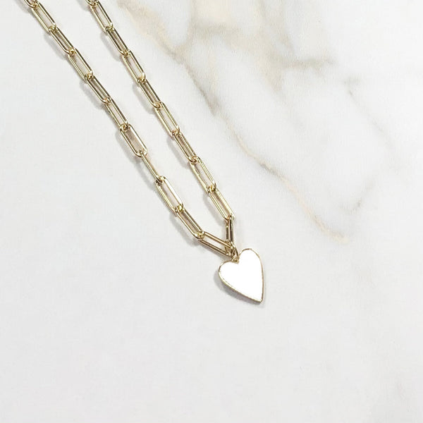 Reversible Heart Cz or White on Paperclip Chain