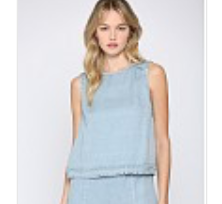 Fate Sleeveless Frayed Tencil Chambray Top
