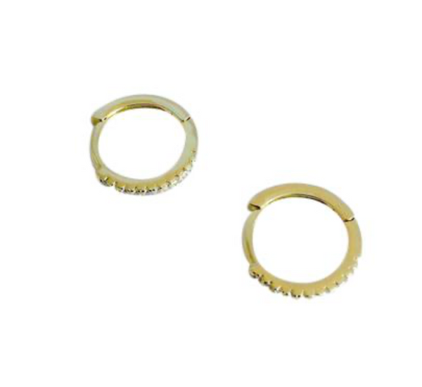 CZ  11mm Goldtone Huggies