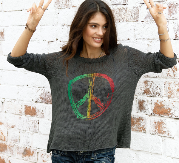 Peace Sign Crew Neck Sweater