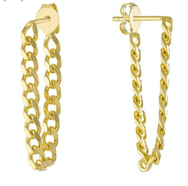 Curb Chain Post Earrings