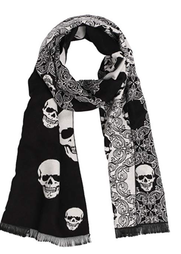 Accessorize me scarf with skulls double sided