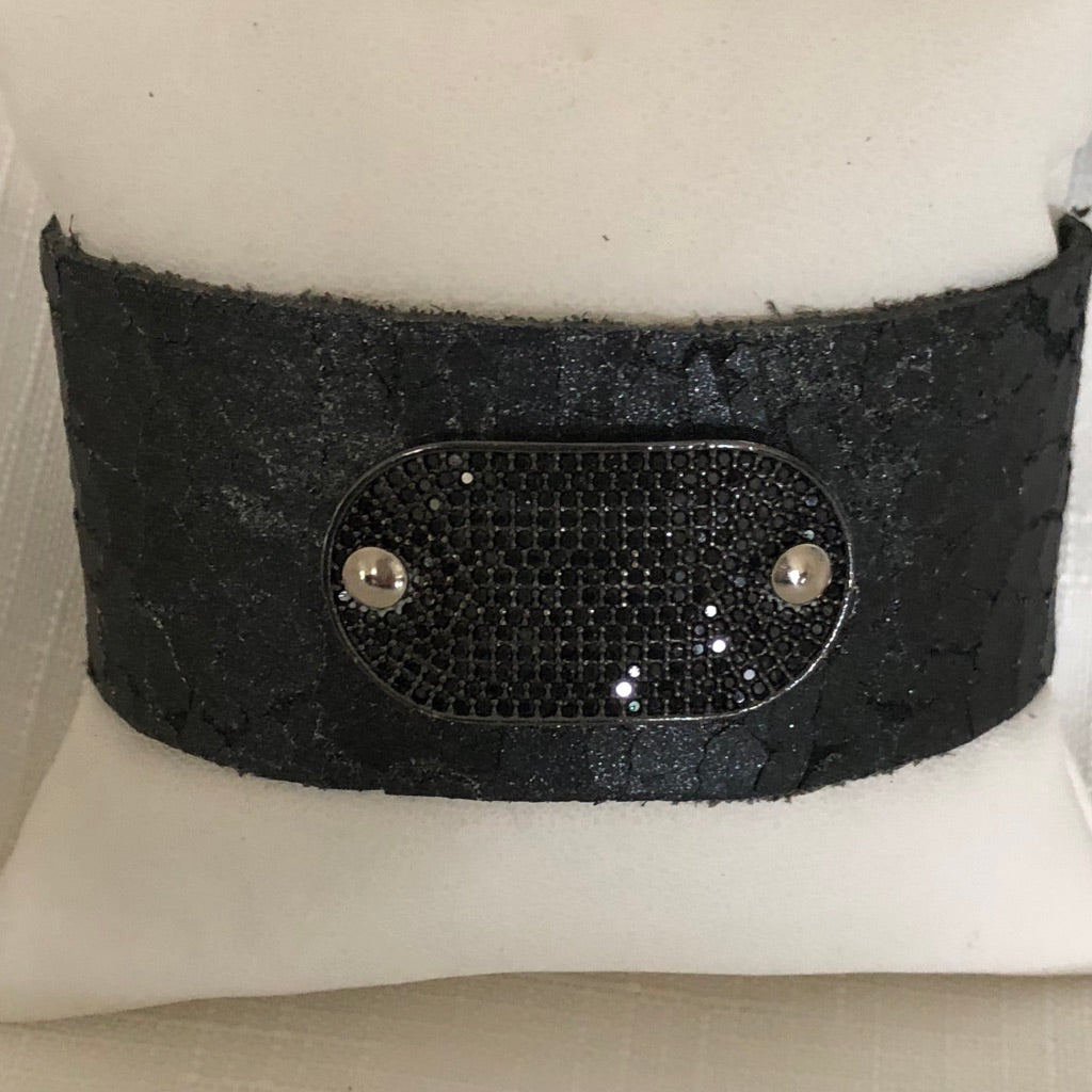 Leather Cuff with Micro Black Pave