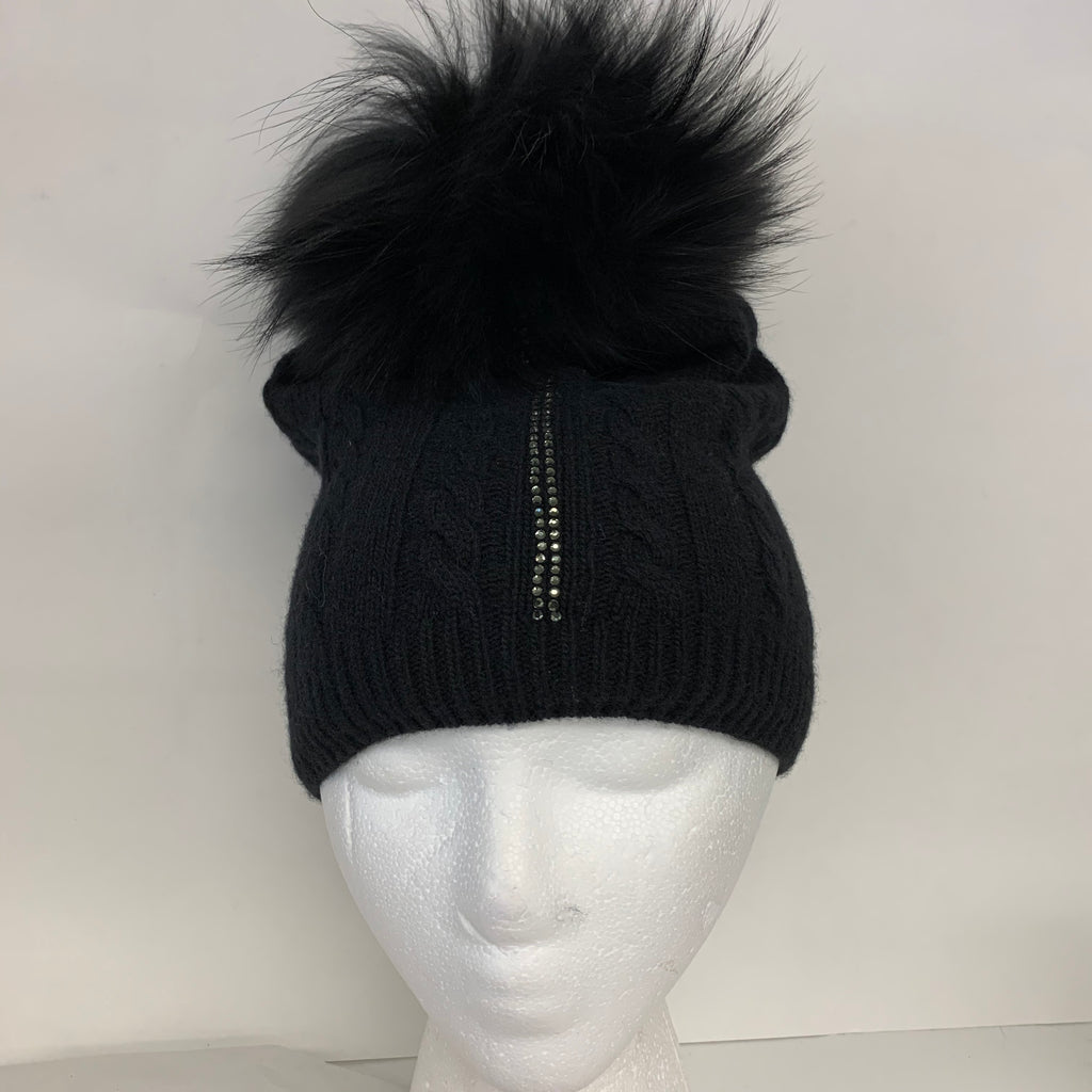 Cashmere and Rhinestone Cable Knit Lined Fur Beanie
