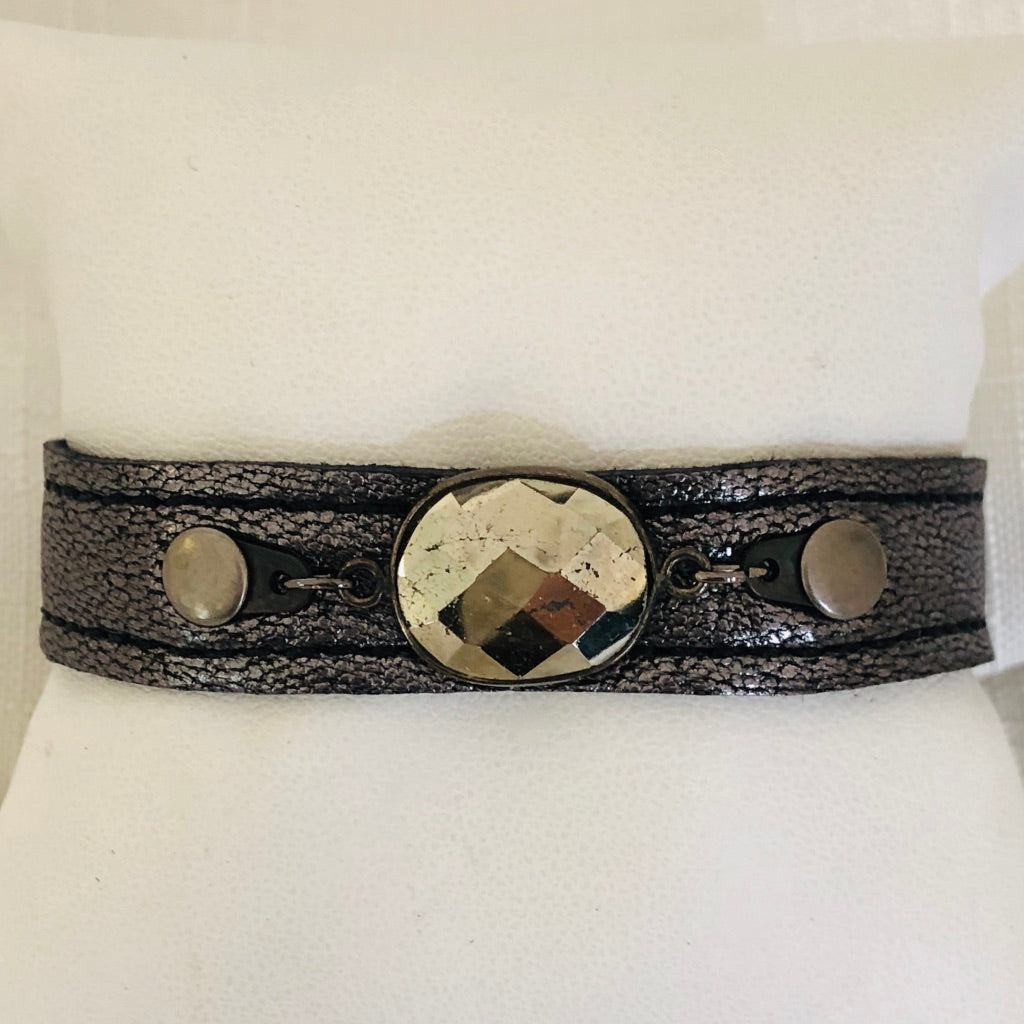 Leather Metallic Cuff Bracelet with Pyrite Oval Stone