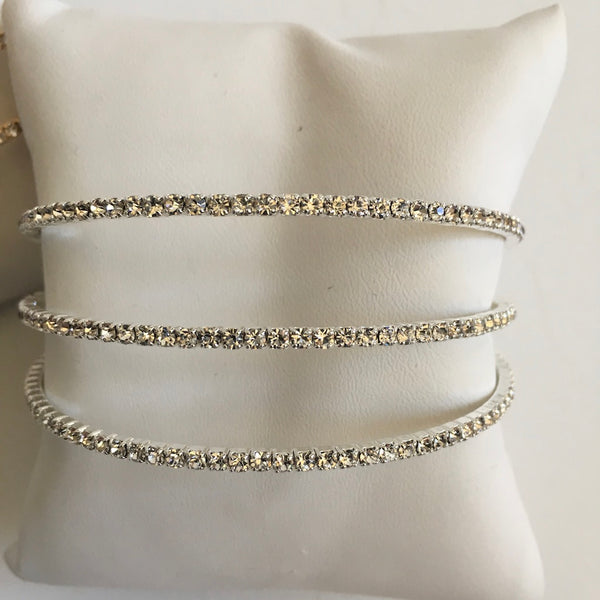 Three Row Flexible Crystal Bracelet