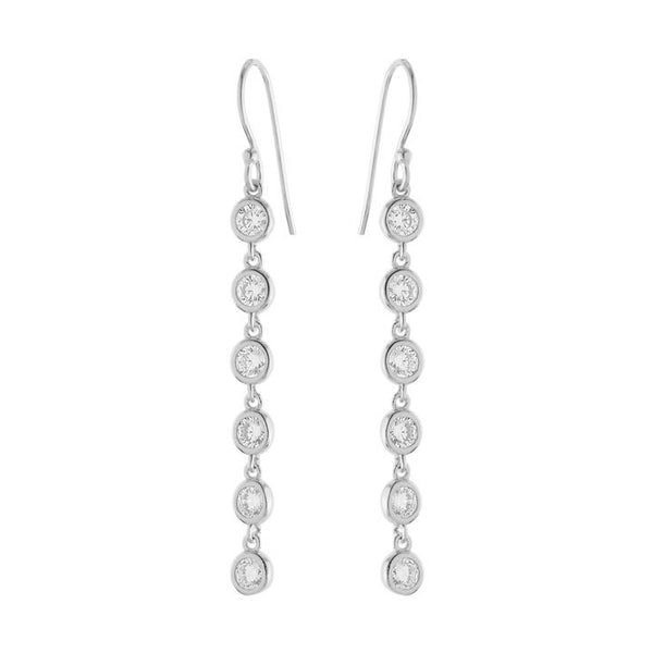 Bezeled CZ Linear Drop Silver Earrings