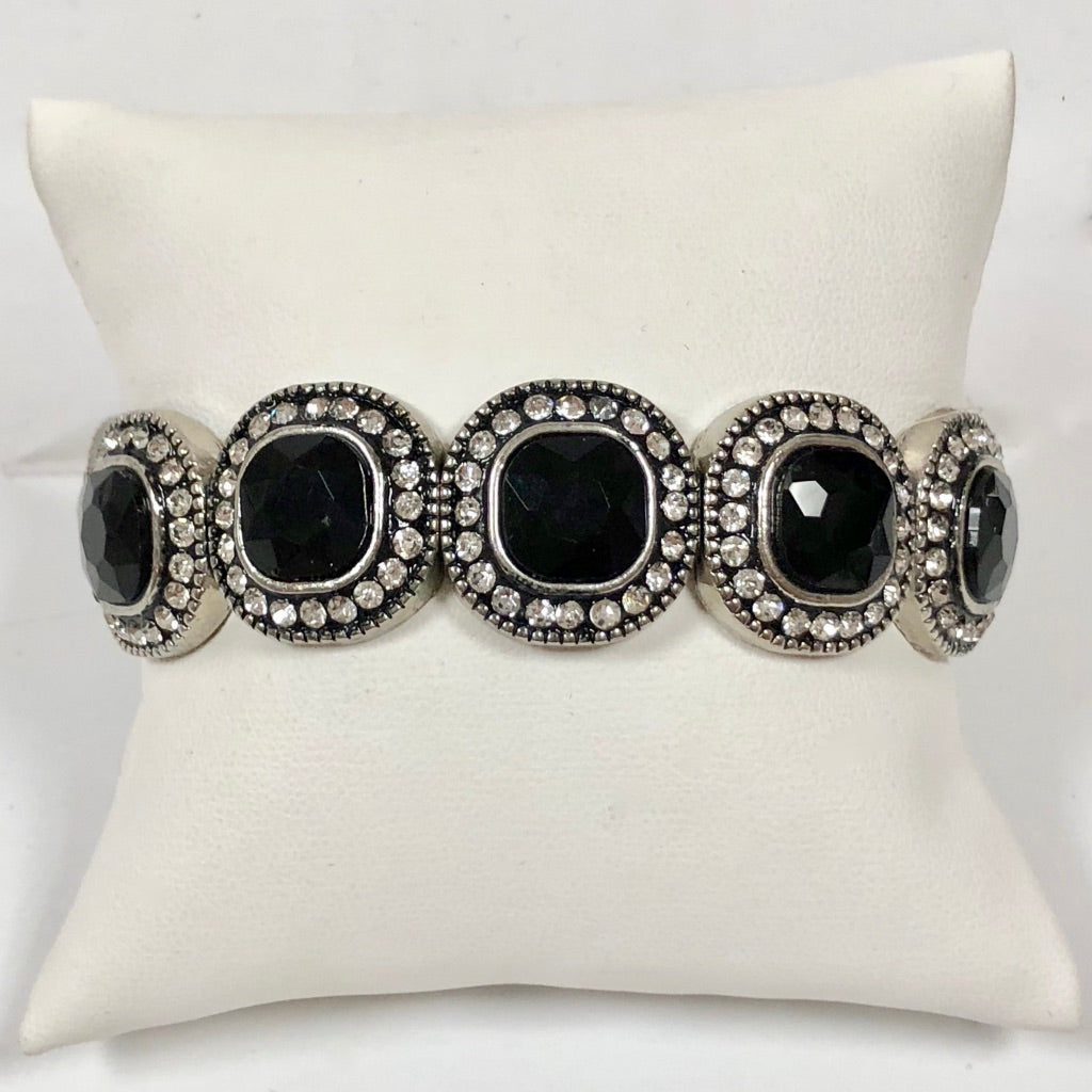Stretch Bracelet with Black Stones Surrounded by Crystals