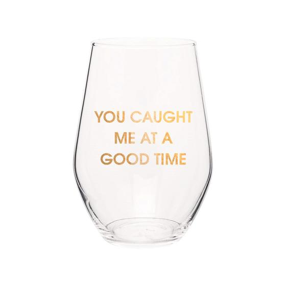 GOLD FOIL STEMLESS WINE GLASS
