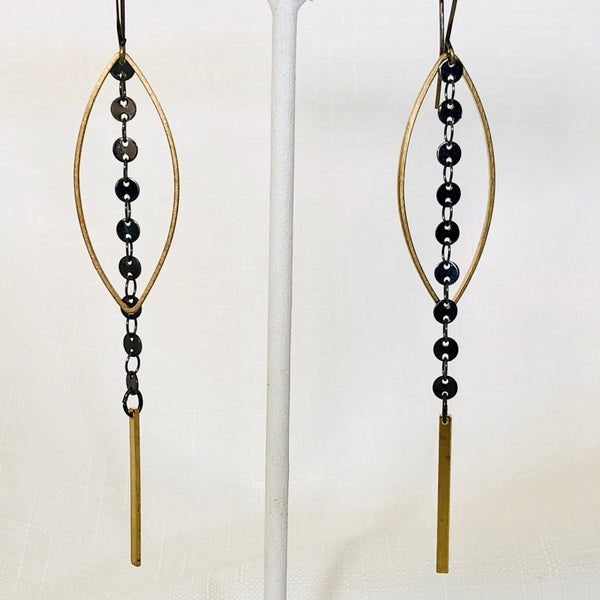 Gold Open Marquis with Hematite Disc Drop Earrings
