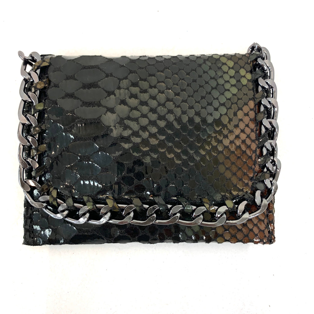 Embossed Exotic Skin Mini Chain Wallet