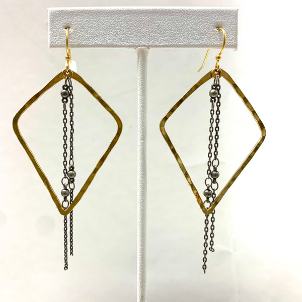 Geo Hoop with Chain Earrings
