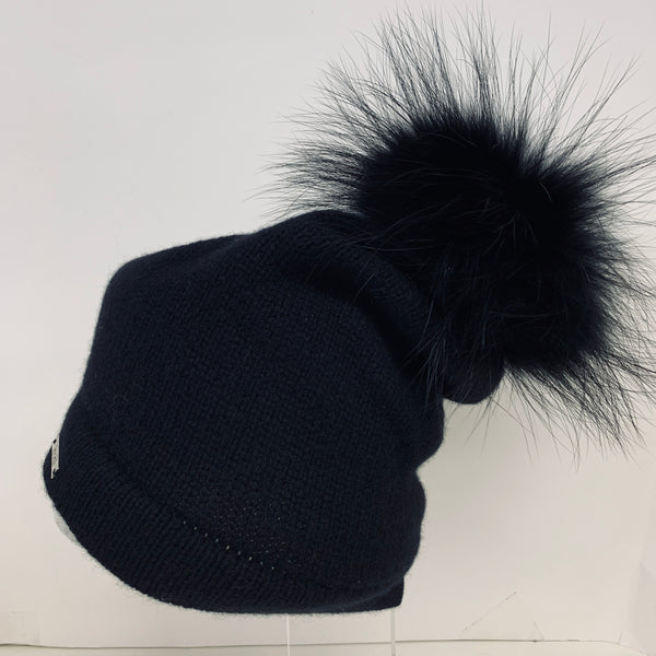 Frost Cashmere Raccoon Pom Hats