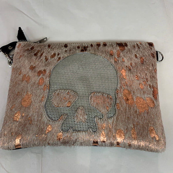 Fur and Leather Skull Design Crossbody Bags