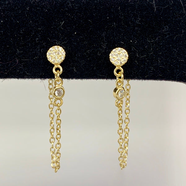 Pave Disc Earrings with Wrap Around Short Chain
