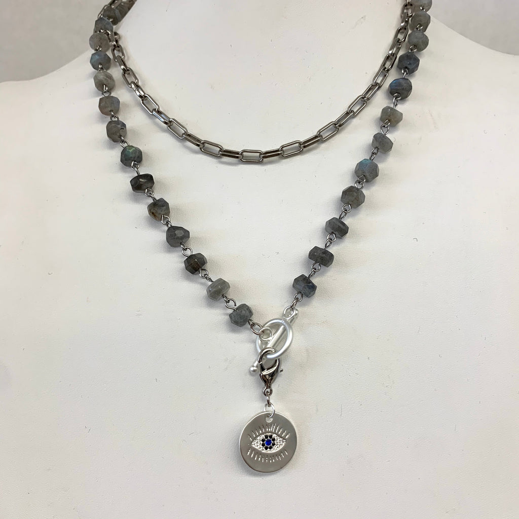 Long Chain And Labradorite Wire Beaded  Necklace