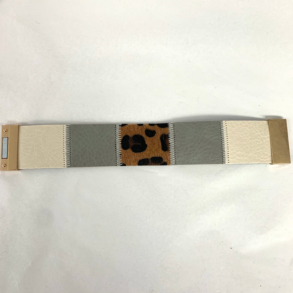 Animal Print Patch Leather Bracelet