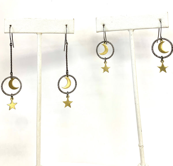 Moon & Star Mixed Metal Earrings