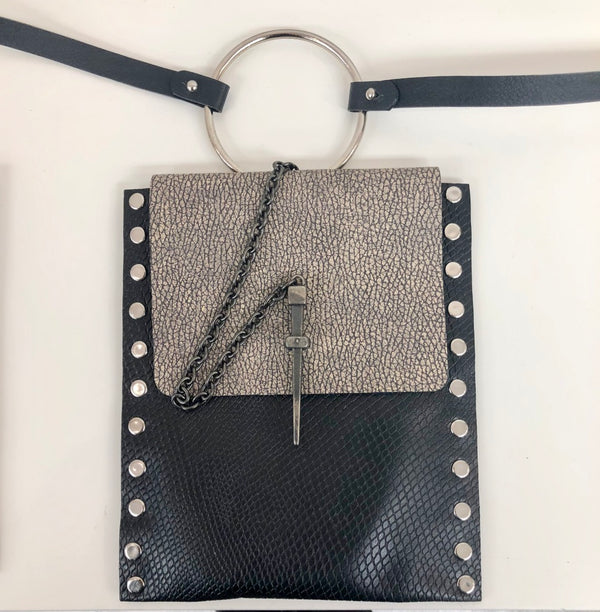 Leather Studded Vertical Bangle Wristlet with Pik Closure