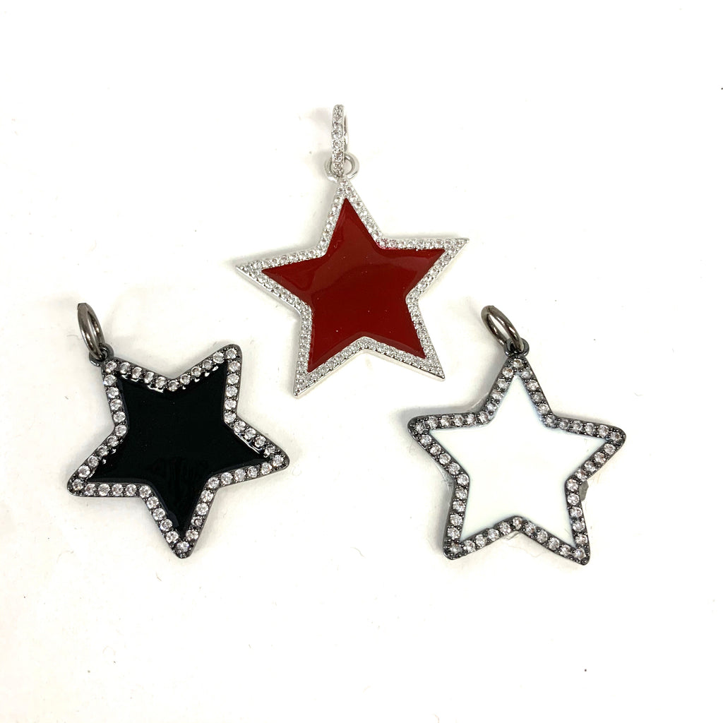 Enamel Star Charm with Crystal Trim