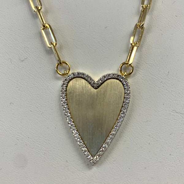 Gold CZ Encrusted Brushed Heart on Small Paperclip Chain