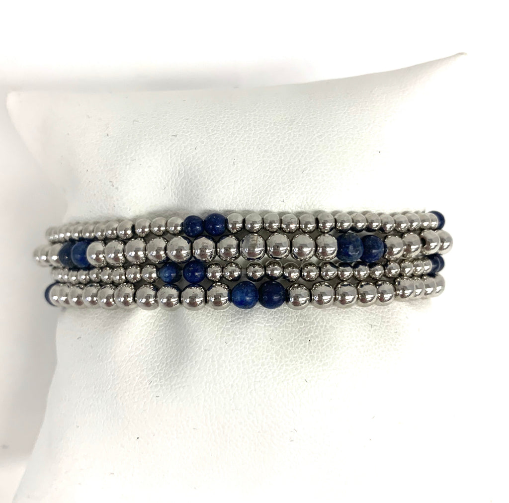 Silver and Lapis Beaded Ball Bracelet with Star