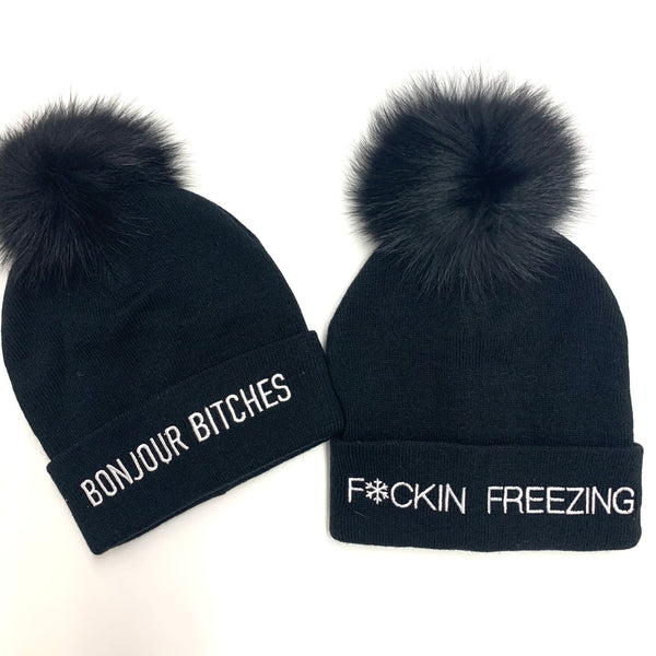 F*CKIN FREEZING Knit Hat With Real Fur Pom