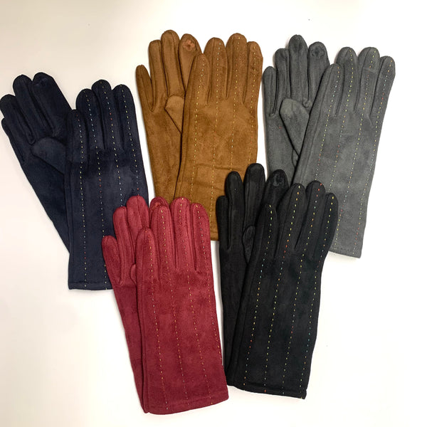 Solid Color Ladies Screen-Touch faux Suede Gloves