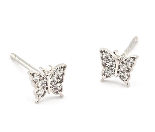 Sterling CZ Butterfly Post Earring By TAI