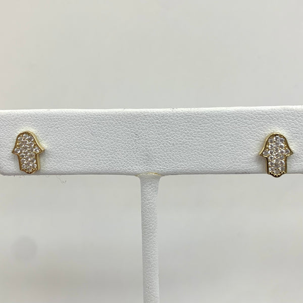 CZ Hamsa Stud Earrings