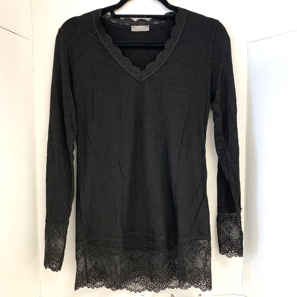Long Black Tee with Lace Trim
