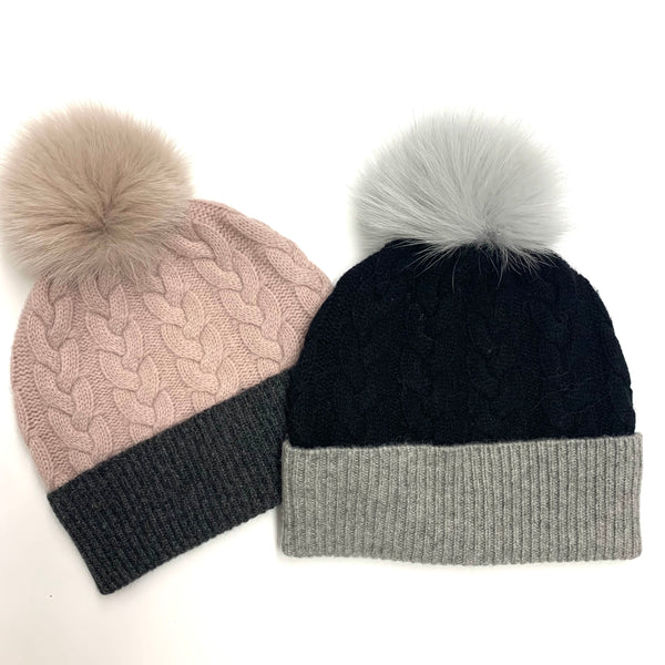 Cable Knit Hat With Real Fur Pom Pom