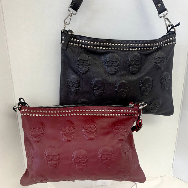 Genuine Leather Skull Embossed Studded Crossbody Bag
