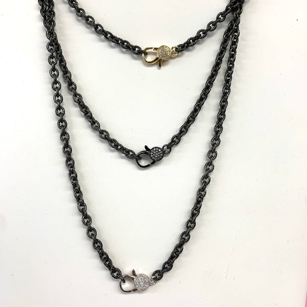Hematite Etched Chain With CZ Lobster Claw