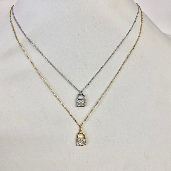 Pave Lock On Delicate Chain