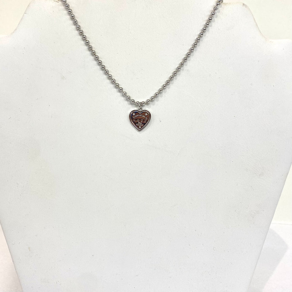 2 MM Beaded Heart Necklace