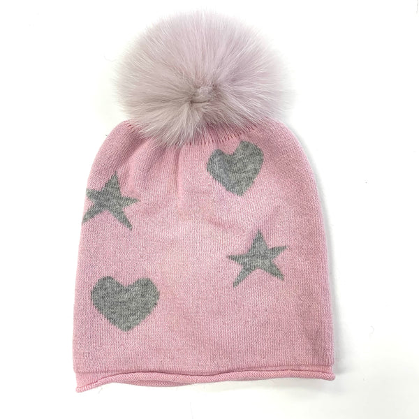 Hearts & Stars Hat And Scarf With Fox Pom
