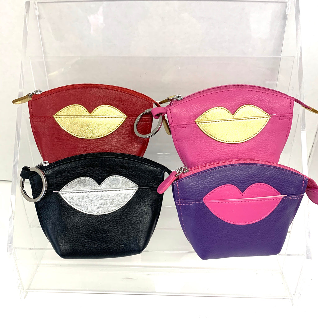 Small Leather Lips Coin Purse