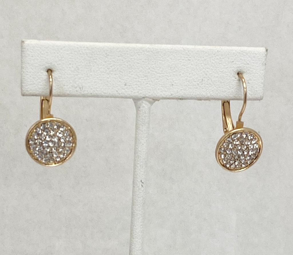 Round Pave Crystal Leverback Earrings