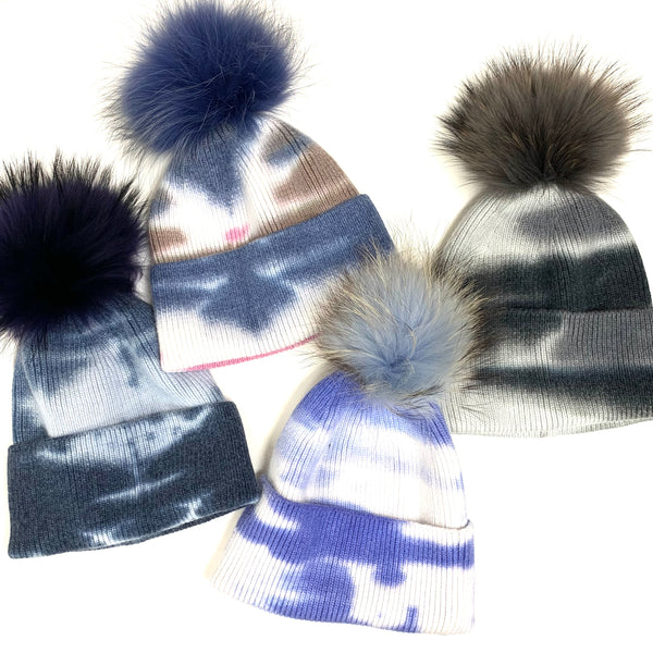 The Cutest Tie-Dye Real Fur Poms Hat